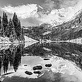 Aspen Colorado's Maroon Bells In Black And White by Gregory Ballos