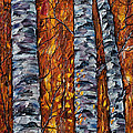 White Trees  Original Oil Painting  by OLena Art Brand