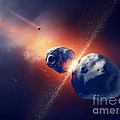 Asteroids Collide And Explode  In Space by Johan Swanepoel