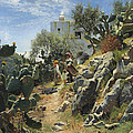 At Noon On A Cactus Plantation In Capri by Peder Mork Monsted