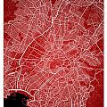 Athens Street Map - Athens Greece Road Map Art On Color by Jurq Studio