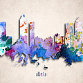 Atlanta Painted City Skyline by World Art Prints And Designs