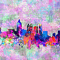 Atlanta Skyline Watercolor 4 by Bekim Art