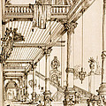 Atrium Of A Palace, In Genes, From Art by Jean Francois Albanis de Beaumont