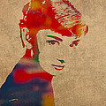 Audrey Hepburn Watercolor Portrait on Worn Distressed Canvas by Design Turnpike