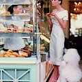 Audrey Marnay At A Patisserie With A Poodle by Arthur Elgort