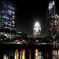 Austin Night Skyline Reflections  by Gary Gibich