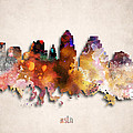Austin Painted City Skyline by World Art Prints And Designs