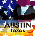 Austin Tx Patriotic Large Cityscape by Angelina Vick