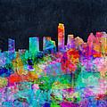 Austin Watercolor Panorama by Bekim Art