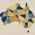 Australia Geometric Retro Map by Michael Tompsett