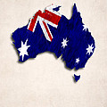 Australia Map Art With Flag Design by World Art Prints And Designs