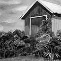 Autumn Barn - Upclose Cropped - Black And White by Jan Dappen