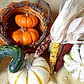 Autumn Basketful With Corn by Mary Deal