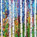 Autumn Birch Trees Abstract by Karen Tarlton