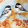 Autumn Chickadees by Inese Poga