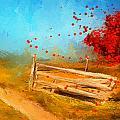 Autumn Farm- Autumn Impressionism Oil Palette Knife Painting by Lourry Legarde