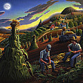 Autumn Farmers Shucking Corn Appalachian Rural Farm Country Harvesting Landscape - Harvest Folk Art by Walt Curlee