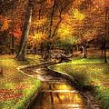 Autumn - Landscape - By A Little Bridge  by Mike Savad