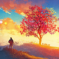 Autumn Landscape With Alone Tree On by Tithi Luadthong