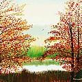 Autumn On The Ema River Estonia by Misuk Jenkins