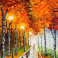 Autumn Park Night Lights Palette Knife by Georgeta  Blanaru