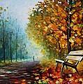 Autumn Park - Palette Knife Oil Painting On Canvas By Leonid Afremov by Leonid Afremov