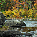 Autumn River Boulders In Upstate New York by Bruce Gourley