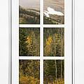 Autumn Rocky Mountain Glacier View Through A White Window Frame  by James BO  Insogna