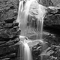Avalanche Falls In Flume Gorge - Black And White by Kristen Mohr