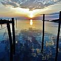 Avon Harbor Sunset Reflections 7/26 by Mark Lemmon