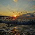 Avon Pier Sunrise Morning Sunbeams 7/26 by Mark Lemmon