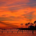 Awesome Fiery Sunset On Sound With Cirrus Clouds And Pines by Jeff at JSJ Photography
