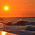 Awesome Red Sunrise Colors On Navarre Beach With Shore Waves by Jeff at JSJ Photography