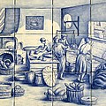 Azulejo Portuguese Bakers Tile Mural by Julia Sweda
