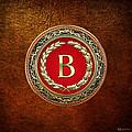 B - Gold Vintage Monogram On Brown Leather by Serge Averbukh