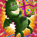 Baby Birthday Dragon With Present by Martin Davey
