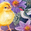 Baby Chick And Hummingbird by Janet Zeh