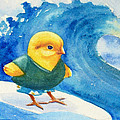 Baby Chick Surfing by Janet Zeh