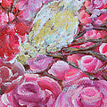 Baby Dove Of Peace Pink Flowers by Ashleigh Dyan Bayer