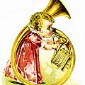 Baby Girl With A French Horn by Vintage Trading Cards