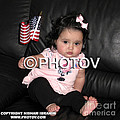Baby Girl With An American Flag And Voting Sticker - Limited Edition by Hisham Ibrahim