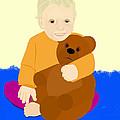 Baby Holding Teddy Bear by Pharris Art