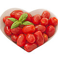 Baby Plum Tomates In A Heart Shaped Bowl by Dawn Gilfillan