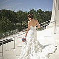 Back Of Bride At Baha'i Temple by Mike Hope