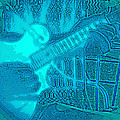 Back Porch Pickin' Pop Art In Blue by Barb Dalton