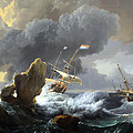 Backhuysen's Ships In Distress Off A Rocky Coast by Cora Wandel