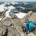 Backpacker Descending Needle Peak by Christopher Kimmel