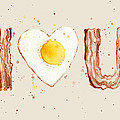 Bacon And Egg I Heart You Watercolor by Olga Shvartsur