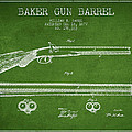 Baker Gun Barrel Patent Drawing From 1877- Green by Aged Pixel